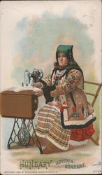 Hungary - A Woman Sitting Behind a Singer Sewing Machine