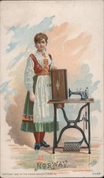 Norway - Woman with Singer Sewing Machine