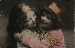 Vintage Saxon Postcard with two young girls