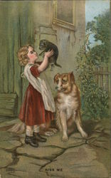 Girl with Dog and Cat: Kiss Me
