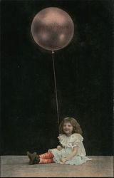 Best Wishes - Girl in Striped Stockings Holding a Huge Balloon