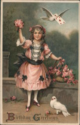 Girl In a Pink Dress With Flowers: Birthday Greetings