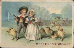 Best Easter Wishes - A Boy and Girl Followed by Chicks