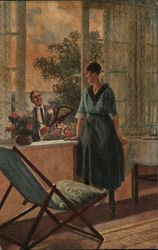 A Man Smiling at a Woman Through an Open Window