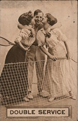 "Two women tennis players kissing man: ""Double service"""