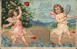 Loving Greeting - Two Angels Playing Tennis with Hearts