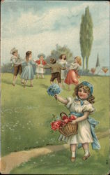 A Girl Holding a Basket of Flowers and Children Playing in The Background