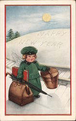 Happy New Year - An Angel with a Suitcase, Umbrella and Book