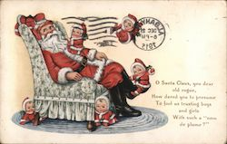 Santa Sitting in a Chair Covered in Babies