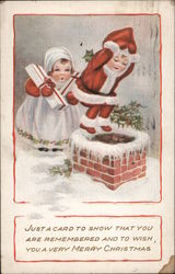 A Little Boy and Girl Going Down a Chimney