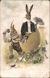 A Gnome Chiseling a Rabbit Out of an Egg