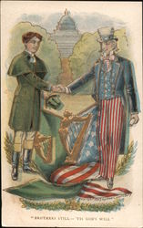 """Brothers Still 'Tis God's Will""  Uncle Sam Shaking Another Man's Hand"