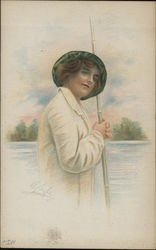 Portrait of woman holding rod