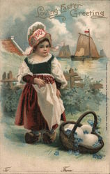 Loving Easter Greeting - A Girl with a Basket of Eggs