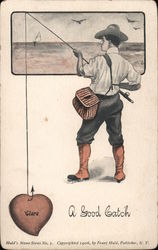 A Good Catch - A Man Fishing Postcard