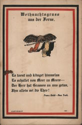 Franz Huld German-American Postcard - Greetings from afar with poem