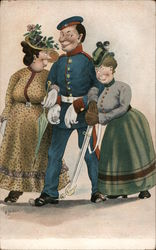 A Man in Uniform with Two Women