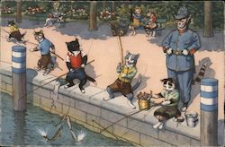 Young Cats in Clothing Fishing in front of a Police Cat