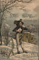 New Year Greetings - A Man Holding a Letter, Whistling
