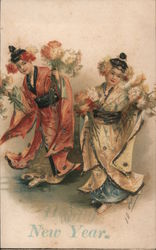 New Year - Two Women in Kimonos with Flowers