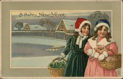 A Happy New Year - Two Girls Carrying Baskets