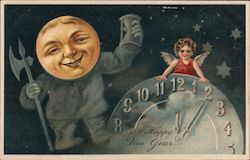 A Happy New Year - A Clock, Moon and Angel
