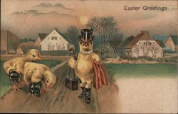 Easter Greetings - Three chicks in Top Hats