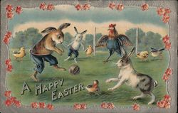 A Happy Easter - Bunnies Playing Soccer