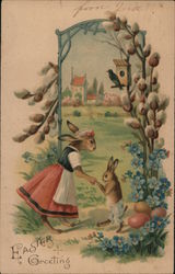 Easter Greeting - Two Bunnies Holding Hands