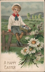 A Happy Easter - A Boy Sitting on A Fence Holding a Basket of Eggs