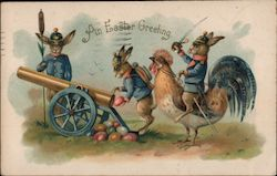 An Easter Greeting - Three Bunnies, One Riding a Chick