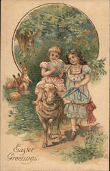 Easter Greetings - Two Girls Riding a Lamb Holding an Egg