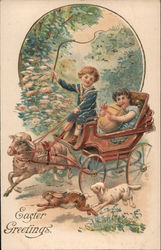 Easter Greetings - Two Children in a Carriage