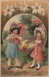 Easter Greetings - Two Girls and a Chick