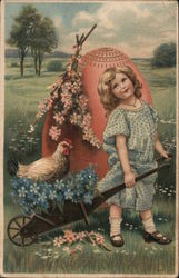 Easter Greetings - A Girl Pulling a Chicken in a Wheel Barrow