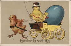 Easter Greetings - A Chick Pulling Another Chick in a Carriage