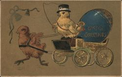 Easter Greetings - A Chick Pulling a Carriage with a Chick and Easter Egg In It