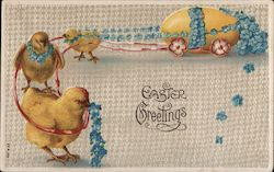 Easter Greetings - Three Chicks Pulling an Egg