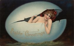 Easter Greetings - A Woman Inside a Large Egg