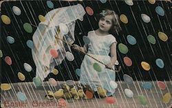 Easter Greetings - A Little Girl Holding an Umbrella