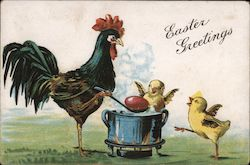 Easter Greetings - Rooster Cooking Eggs