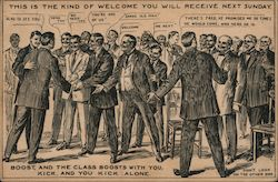 A Large Group of Men Shaking Hands and Greeting Each Other Postcard