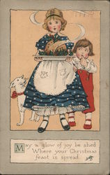 A Young Girl With a Platter of Food Postcard