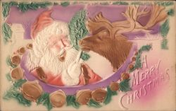 A Merry Christmas - Santa with a Reindeer