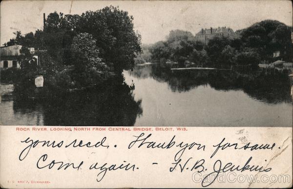 Rock River, Looking North From Central Bridge Beloit Wisconsin
