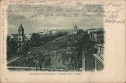University of Wisconsin. Campus from Library Postcard