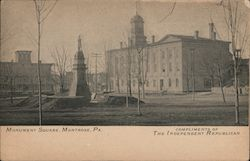 Monument Square, Compliments of the Independent Republican Postcard