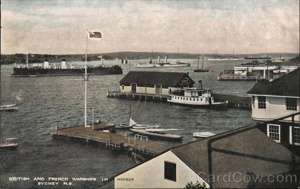 British and French Warships in the Harbor Sydney Nova Scotia Canada