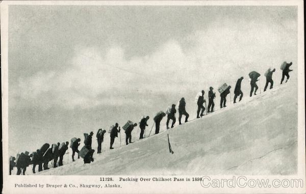 Packing over Chilkoot Pass in 1898 Alaska