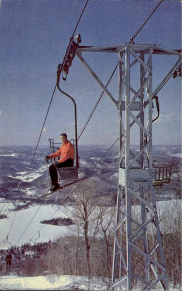 Upper Ski Lift On Mont Tremblant Canada Quebec Skiing